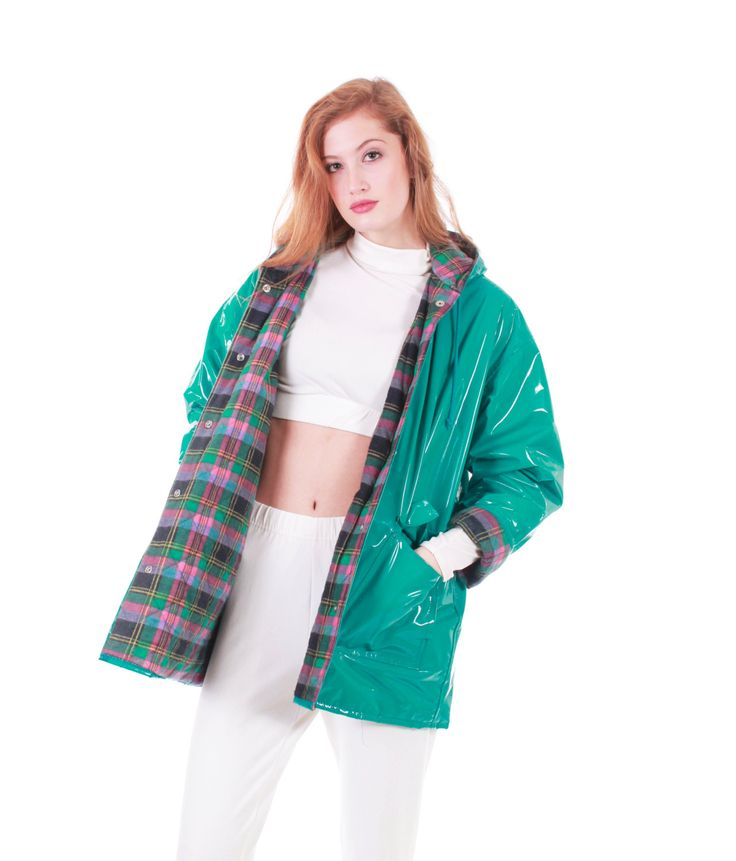 20% OFF SALE 90s Vintage PVC Raincoat Turquoise by KCOVINTAGE