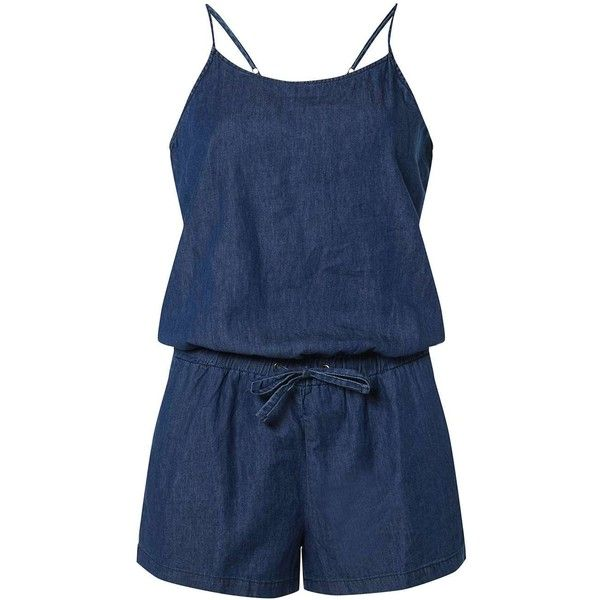 Dorothy Perkins **Vero Moda Chambray Denim Playsuit ($39) ❤ liked on Polyvore featuring jumpsuits, rompers, blue, chambray romper, dorothy perkins, denim rompers, spaghetti strap romper and blue romper
