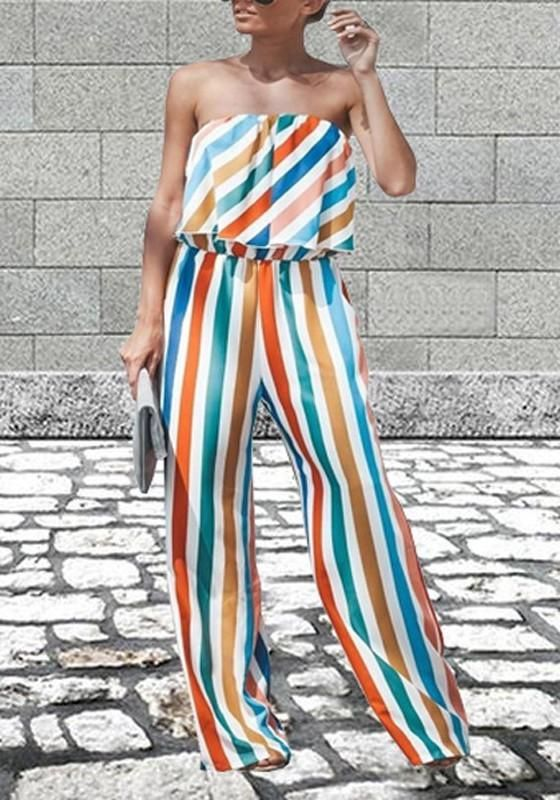 e019e4cc440 White Striped Ruffle Off Shoulder Backless Office Worker Rainbow Wide Leg  Long Jumpsuit