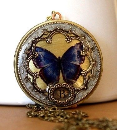 Pearl Necklace, butterfly locket, picture locket, Graduation Gift, personalized necklace, vintage locket, blue image locket. $78.50, via Etsy.