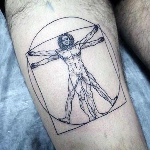 Thigh Vitruvian Man Male Tattoos