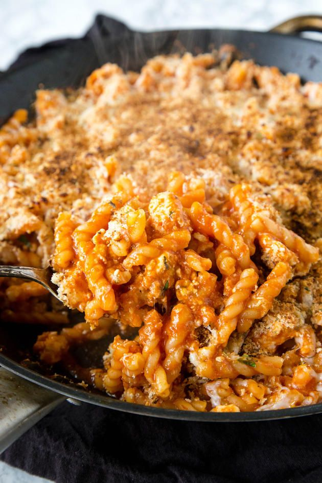 Chicken Parmesan Pasta Skillet is a dinner everyone can agree on. All the tastes of the classic dish in one pan!