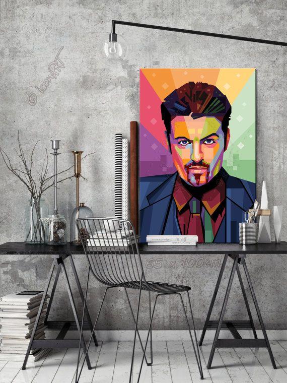 Tribute to George Michael  - PORTRAIT icon Art Gallery Personalisiert - Dein Name, Stadt, Datum - Pop Art Grafik Geschenk