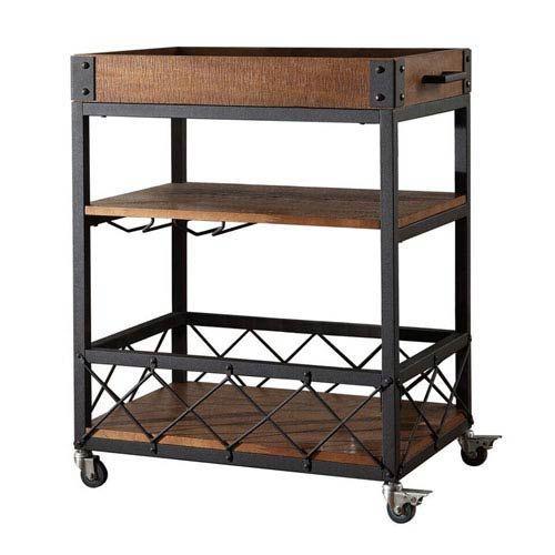 Ashburne Espresso Rustic Bar Cart HomeHills Bar Carts Bars & Bar Sets Game Room & Bar