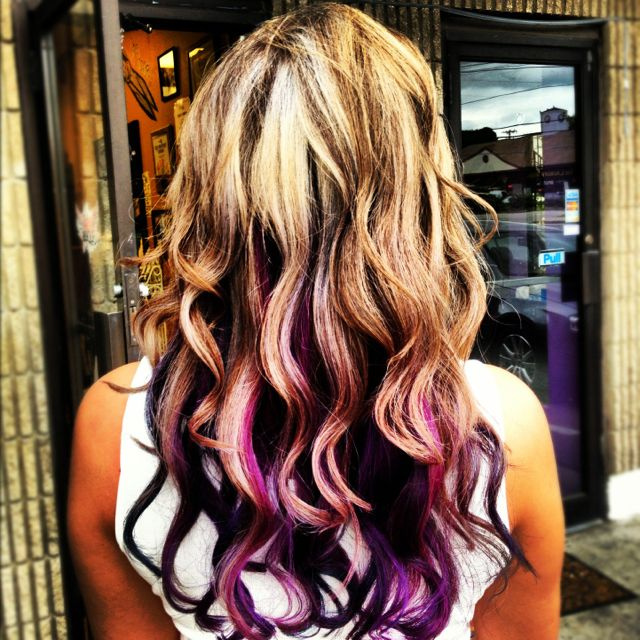 My hair highlighted and styled by Brittani Levesque @ The Nine Salon!  Blue, teal, purple, pink underneath!