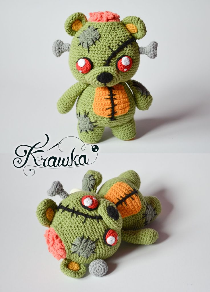 Krawka: Frankie the zombie bear - merger of teddy bear and Frankenstein's monster, creepy and cute and zombies crochet pattern