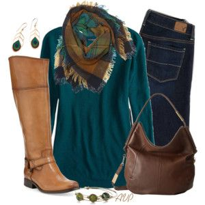 Sweater, Scarf, and Boots - Peacock for Fall