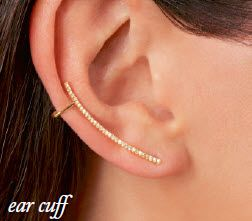 Ear cuffs – wear a matched pair of just one with a stud in the other ear. Balancing a trendy look with poise and sophistication, each cuff traces the ear with diamonds in 14kt rose gold. Secures with a post backing and an upper loop. (838394) #RossSimons