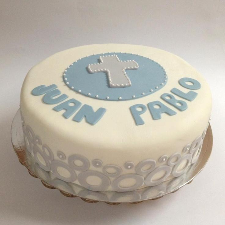 Boy Baptism or First Communion fondant cake    Pastel Bautismo o Primera comunion