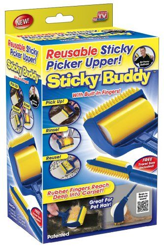 Sticky Buddy Reusable Sticky Picker Cleaner Lint Roller Pet Hair Remover Brush - Introducing the Sticky Buddy, the super sticky lint roller that has the power of glue without the goo! Use it to remove cat hair, dog hair, crumbs, cat litter and much more! The Sticky Buddy is safe on all types of fabrics and can be used to clean your clothing, comforters, furniture and even the...