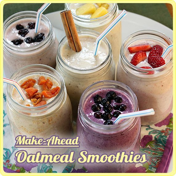 Make-Ahead Oatmeal Smoothies -- healthy & delicious with grab-and-go convenience; 6 varieties, plus how to invent your own  Posted by Monica Matheny on Sunday, April 15th, 2012.  A few weeks ago, I wrote a post about Overnight Refrigerator Oatmeal that has been very popular with Yummy readers. (Thanks for all of the enthusiastic feedback!) Since then I've been experimenting with a smoothie version of that recipe. In today's post, I'm sharing my 6 favorite flavor varieties..................