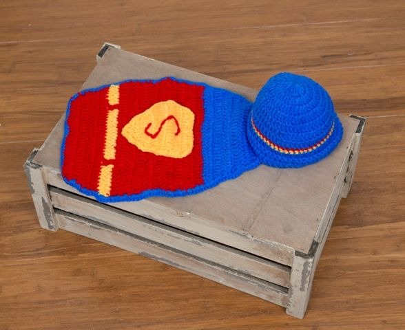 Newborn Superman cape with beanie attached.  www.becspropshop.bigcartel.com