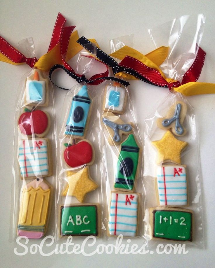 Cute school themed cookie packs for teacher appreciation or back to school!