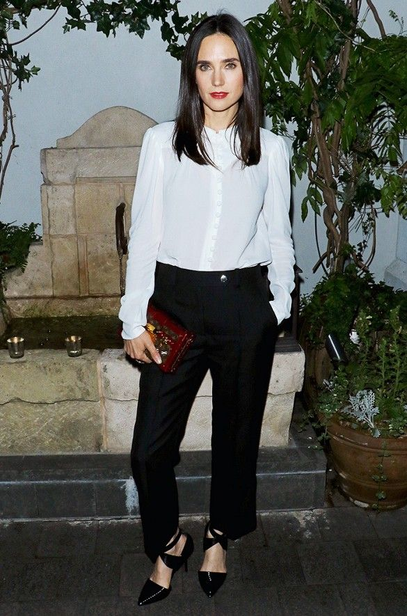 bosca wallets for men Jennifer Connelly pairs a white blouse with black pants and pointy toe strappy heels