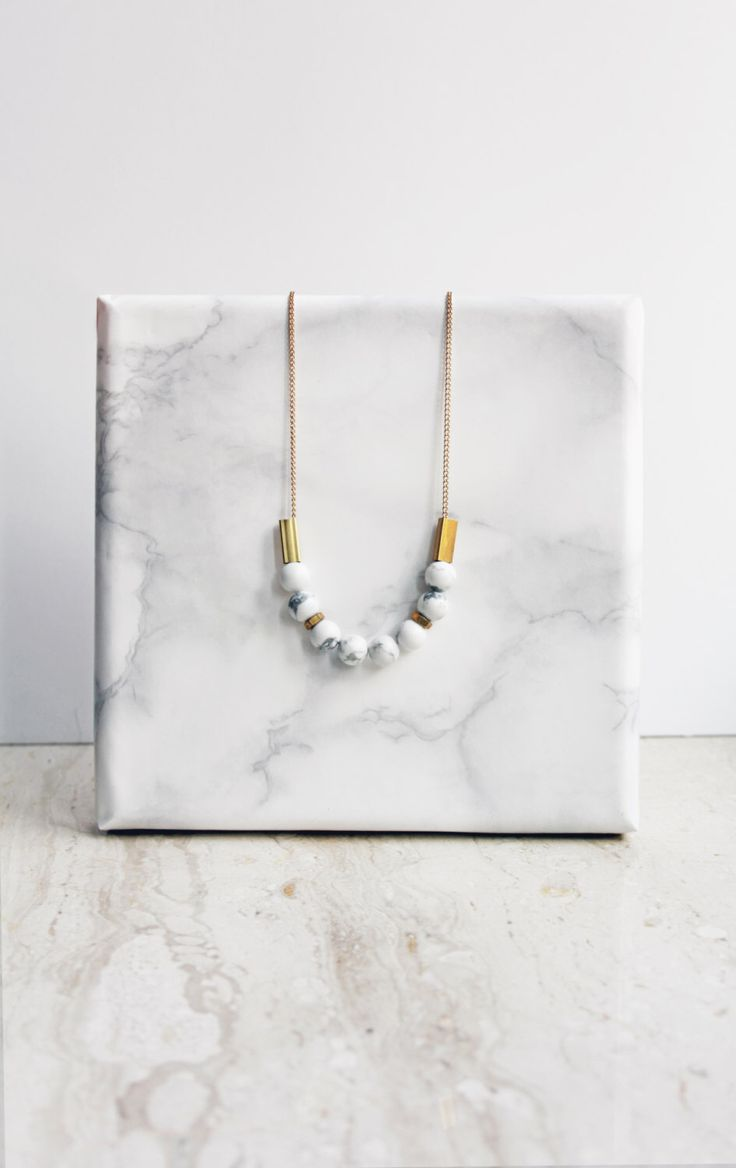 Marble necklace - white howlite and brass by AlmostDone on Etsy https://www.etsy.com/listing/209491460/marble-necklace-white-howlite-and-brass
