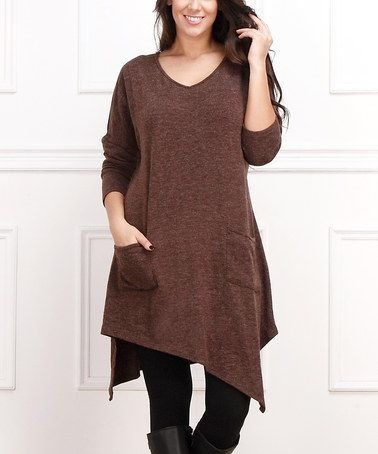 Look what I found on #zulily! Brown Pocket Handkerchief Dress - Plus, $35 !!  #zulilyfinds