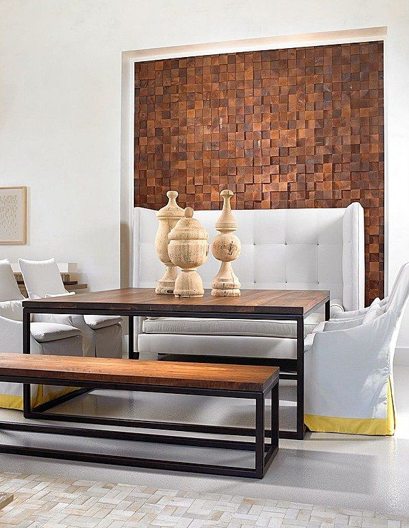 Dimensional wood blocks are a creative way to add interest. Dining room by @Beckwith Interiors. See more statement walls by clicking through.