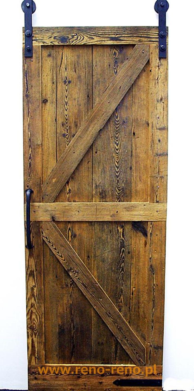 Drewniane drzwi przesuwne w stylu lekko rustykalnym. Piękne! Pracowania Reno.