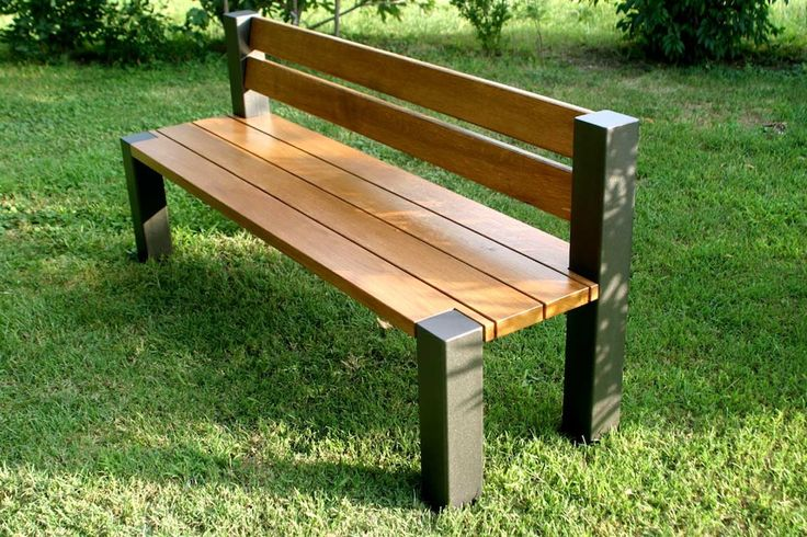 Iron and wooden bench for garden.