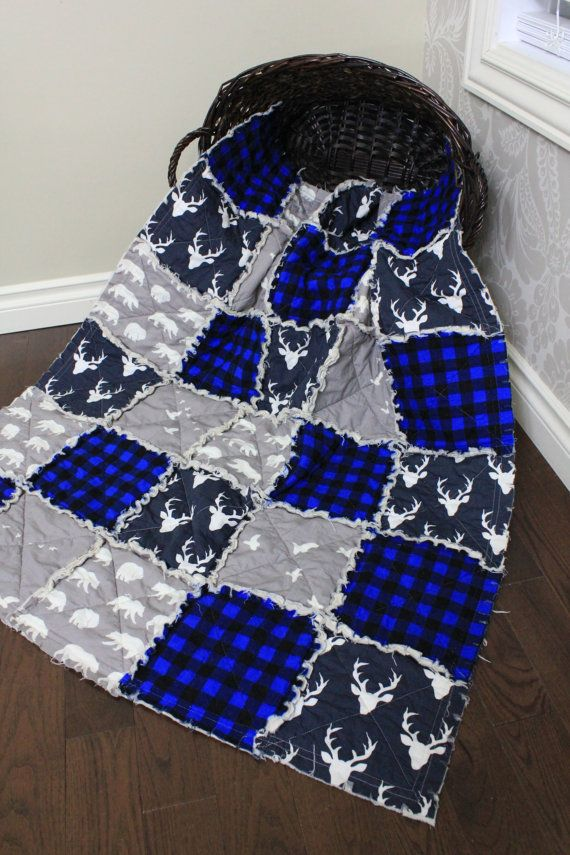 Baby Rag Quilt Baby Crib Quilt Plaid Quilt Deer Navy by RozonsRags