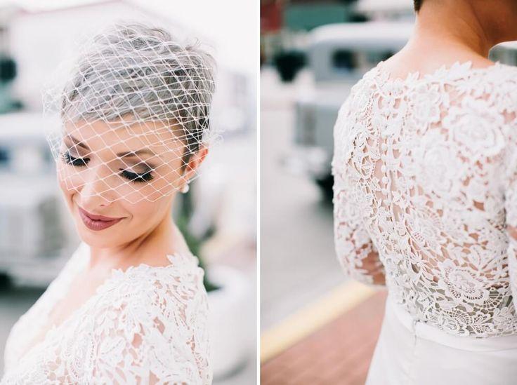 Birdcage veil pixie bride