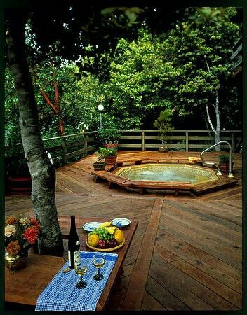 Mountain Living Outdoor Deck and Spa.