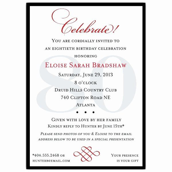 80th Birthday Party Invitation Wording Beautiful 80th Birthday Party In 60th Birthday Party Invitations 80th Birthday Invitations Birthday Invitation Templates