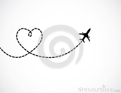 A Airplane flying in the white sky leaving behind a love shaped smoke trail - concept illustration