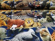 Digitale tricot stof blauw met dierenprint, M482