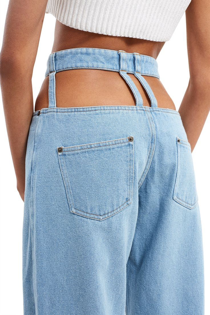Y/Project, Cut-Out Trousers Crated in a light washed denim, these straight-leg pants feature cut-out details all throughout the waist., High waisted, Zip fly, button closure, Back pockets, Wide-leg, straight-fit style, 100% cotton, Imported