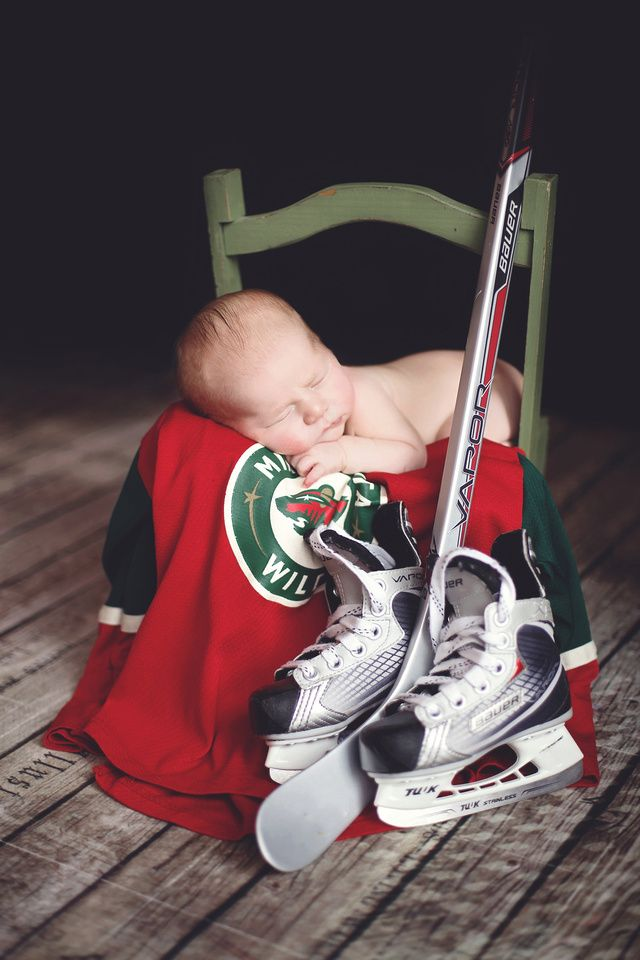With a set of baby skates - Shannon has a pair that were his. Very vintage . And a baby jersey!!!!