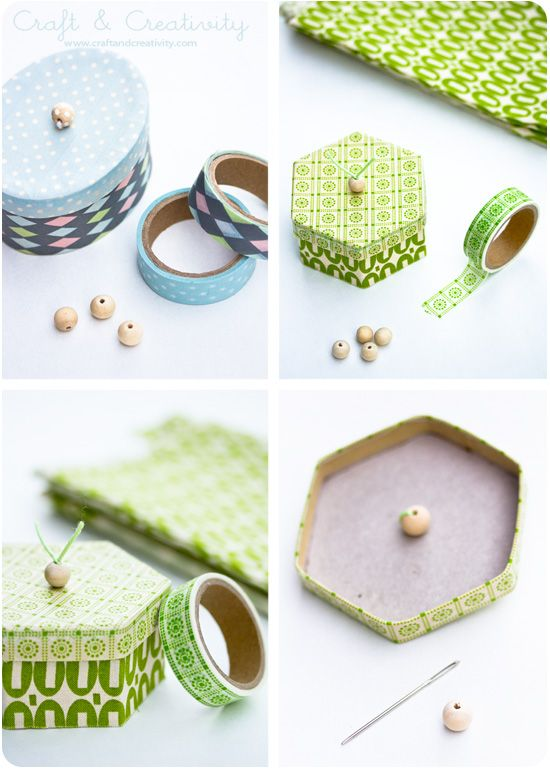 How to decorate boxes with washi tape. Washitejpade askar – Boxes decorated with washi tape | Craft & Creativity.