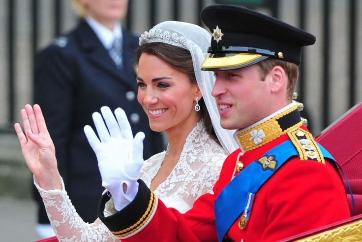 Prince William and Princess Catherine, a classic royal wedding.