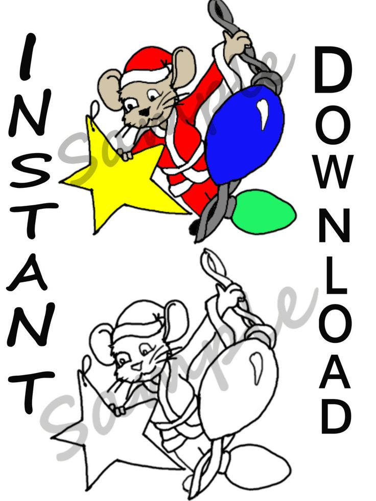 christmas mouse instant digital download images png 300 dpi clipart santa mouse christmas - Digital Christmas Lights
