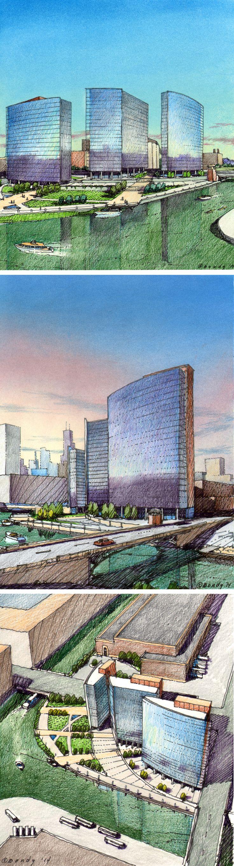 One day charrette for Urban Site, Chicago. FitzGerald Associates. Charrette renderings by Bondy Studio.