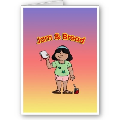 "Jam & Bread :- I have fond memories of eating this as a child whilst watching cartoons. My wonderful ""Little Pig"" enjoys it too... #jam #dessert #preserve #bread #food #treat #child #children #hungry #eat #eating #fun #innocent #happy #smile #love"