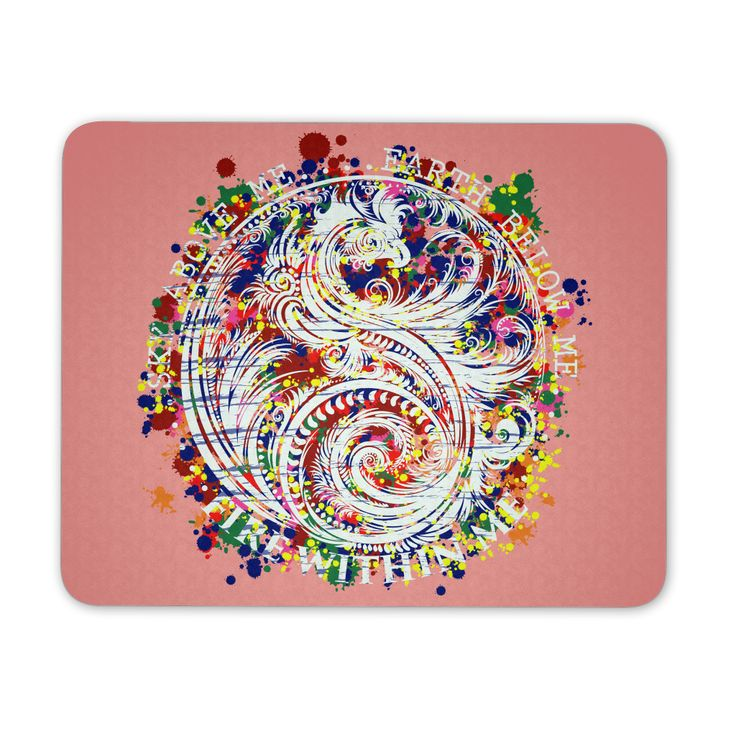 Sky Above Me, Earth Below Me, Fire Within Me - Color Dragon Yin Yang Swirl - Mouse Pad