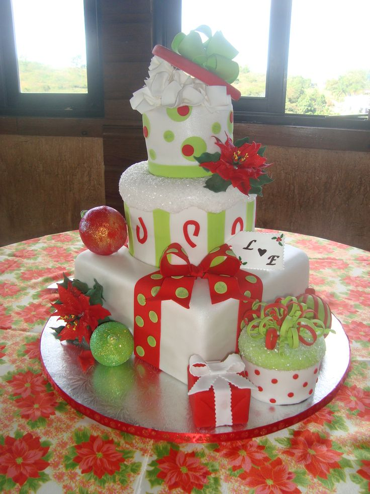 Really enjoy the whimsy of this one Christmas Wedding Cake