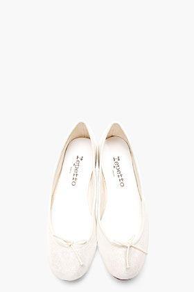 REPETTO White Leather Glitter Ballerina Flats