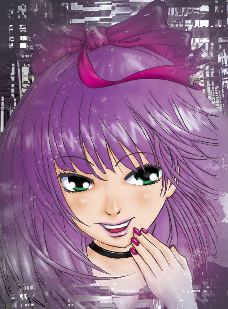 Purple hair. #manga #girl #lace #pose #hair #pink