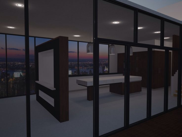 Modern open plan living. Small high-rise apartment sunset city view
