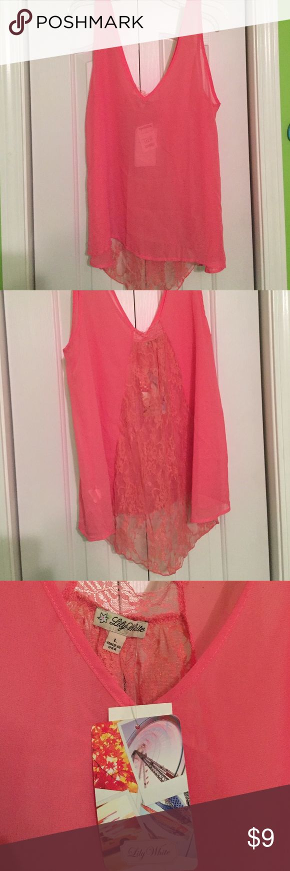 V-Neck See Through Tank Top V-neck pink tank top with a lace see through back. Never been worn. Still has the tags on it. Size L. Lily White Tops Tank Tops