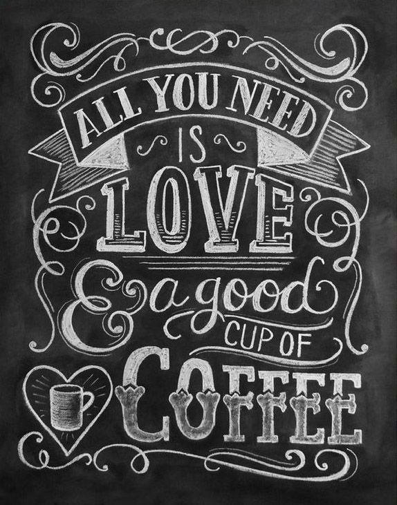 Love & Coffee Chalkboard Art Print- cool idea for chalkboard space between windows