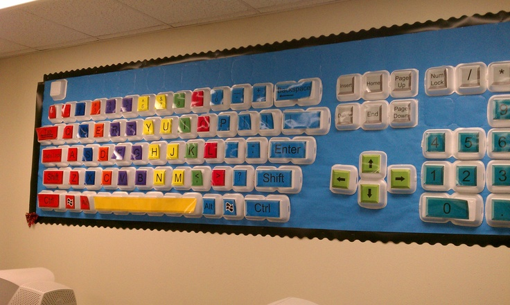 Giant keyboard poster made from fast-food containers, which give the poster a three-dimensional look. The poster is hanging in a computer room at an elementary school. Great for keyboarding classes.