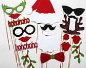 Photo Booth Props - 13 Piece - Christmas Party. $23.00, via Etsy.