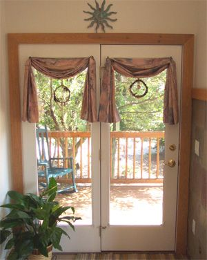 20 best images about pretty curtain scarf ideas on for Curtains for french doors ideas