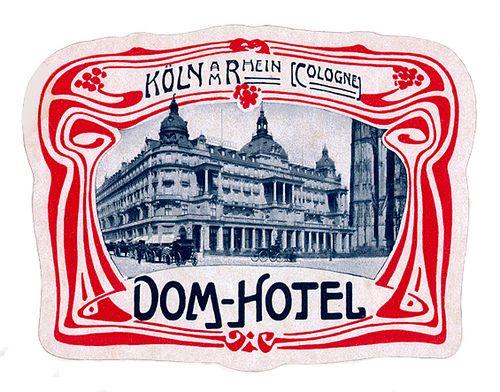 Art Nouveau style label for Dom Hotel Koln Germany.