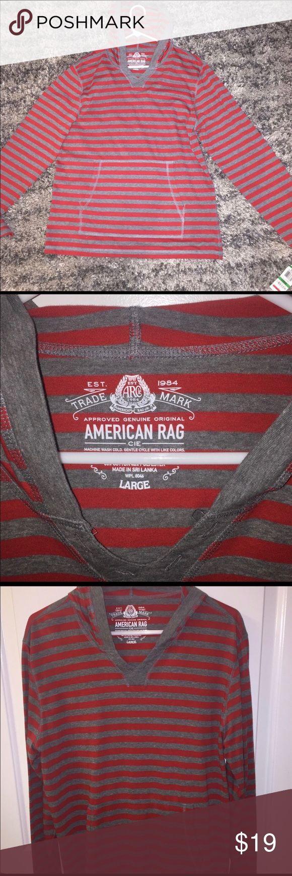 American Rag Men's Hoodie Shirt - L New w/ tags; awesome looking Hooded LS Shirt by American Rag.  Red & gray stripes. American Rag Shirts Sweatshirts & Hoodies