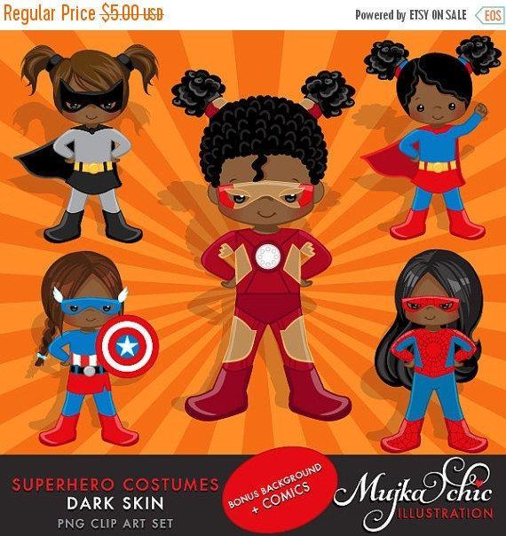 Dark Skin Superhero Costumes  Girls Clipart  Superhero by MUJKA
