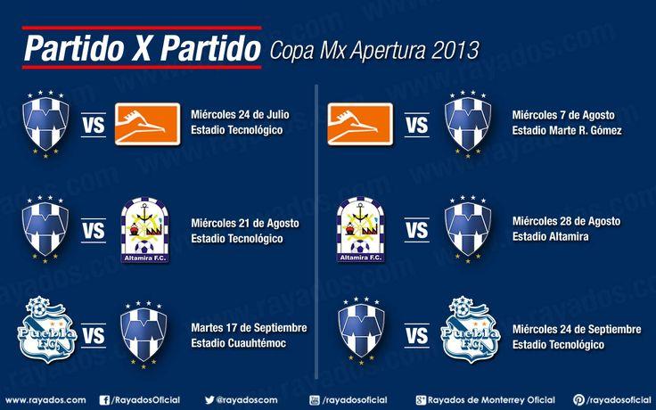 Conoce el calendario de #Rayados para la Copa Mx. Los juegos serán a las 21:00hrs.